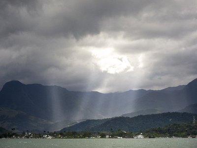 View of sky from schooner
