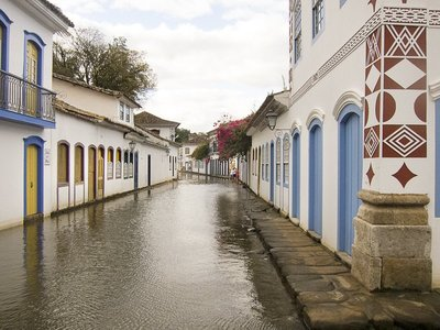Flooded streets in Paraty