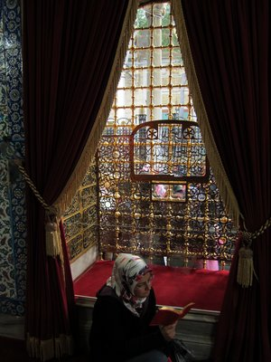 Woman reading at Eyup Mosque (Cami in Turkish)