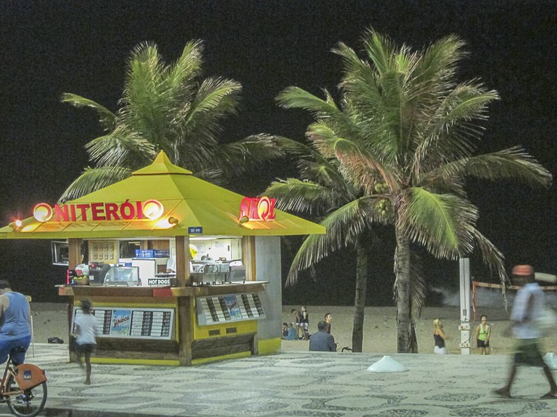 on Ipanema Beach at night