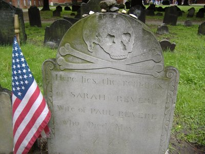 Sarah Revere's grave, Boston, USA