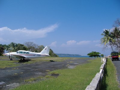 Contadora airport with Pacific in background
