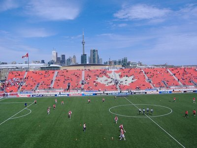 soccer field background. BMO Field is the soccer