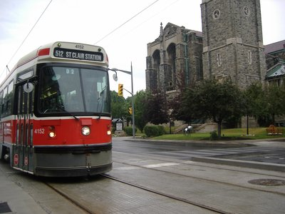 Streetcar and Timothy Eaton Memorial Church, Toronto