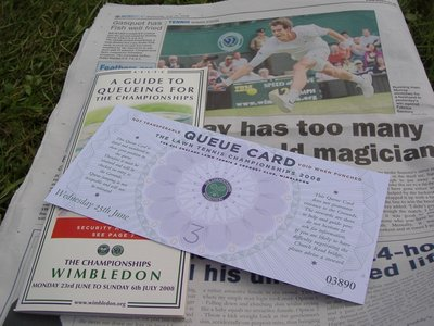 Wimbledon Queue Card and Guide to Queuing