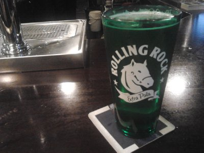 Rolling Rock on tap