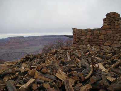 Wood, Ruined Wall and the Grand Canyon