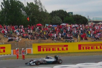 Applauding Hamilton after his win at the Spanish Grand Prix 2014, Circuit de Barcelona-Catalunya, Spain