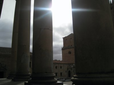 Columns of School of Philosophy at University of Salamanca, across from the Salamanca Cathedral