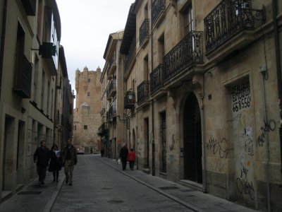 Looking down Calle Consuelo at the Torre de Clavero