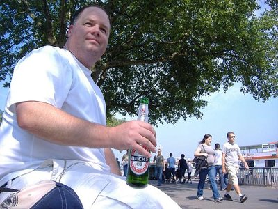 Greg enjoying a Becks on the banks of the Rhine