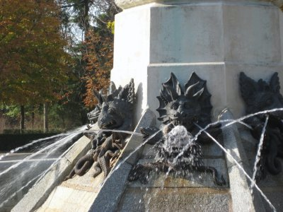 Dragon Spewing at Fountain Glorieta del Angel Ciado in Parque de El Retiro