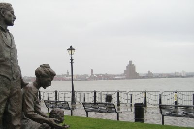 Immigrant statue, Albert Dock, Liverpool, UK