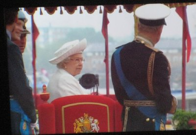 HRH Queen Elizabeth II and Prince Phillip aboard the Royal Barge (Taken from the BBC TV Coverage)