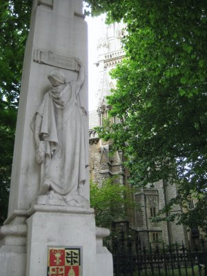 Statue on the church grounds at the corner of Kensington High Street and Kensington Church Street