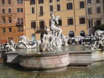 Trident wielder, Fountains at Piazza Novona