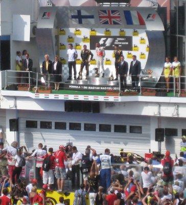 Podium Ceremony - Lewis, Kimi and Romain