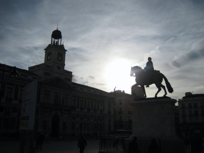 Riding into the sunset at Puerta del Sol