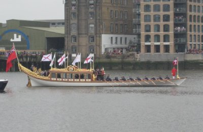 Rowing boat Gloriana with Matthew Pinsent and Steve Redgrave