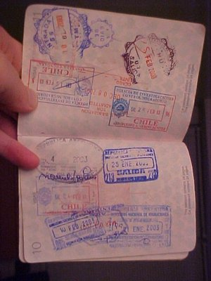 Passport stamps from South America