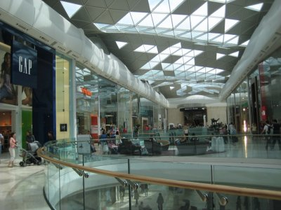 Interior of Westfield Shopping Centre - fancy swooping roof!