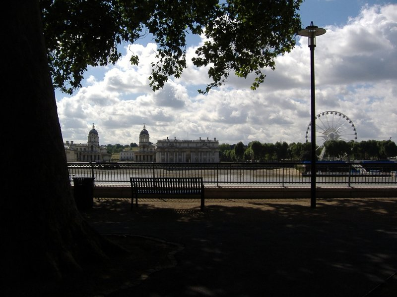Looking across to Greenwich at Greenwich Eye and U of Greenwich