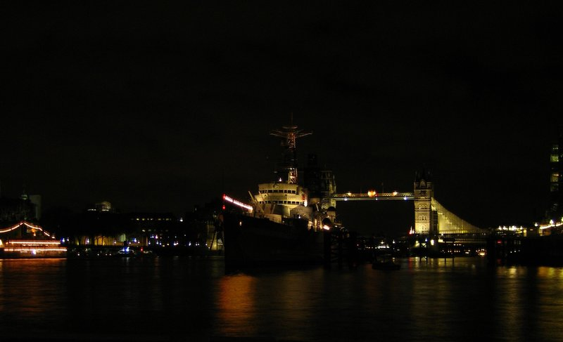 Tower Bridge and HMS Belfast at night from London Bridge Pier