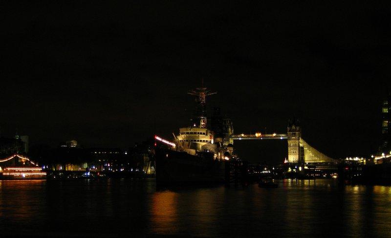Tower Bridge and HMS Belfast at night from London Bridge Pier