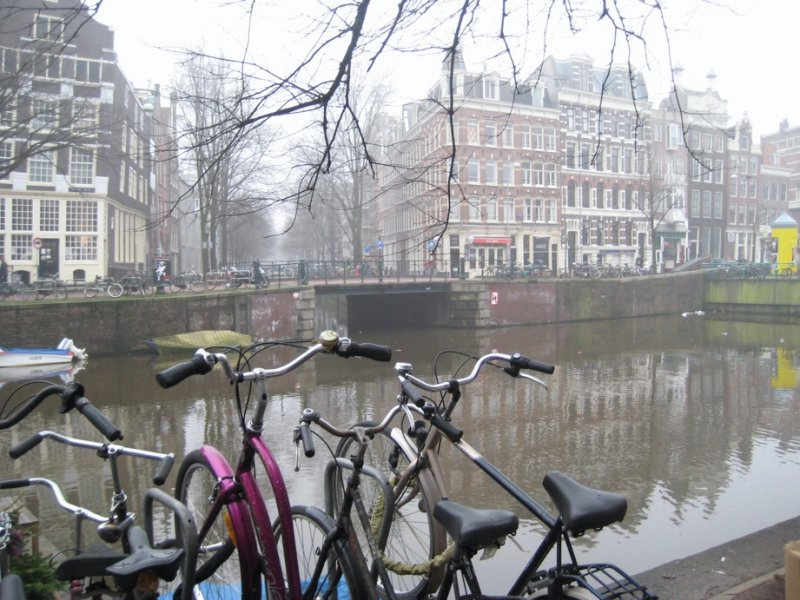 Bikes and Canal in Fog