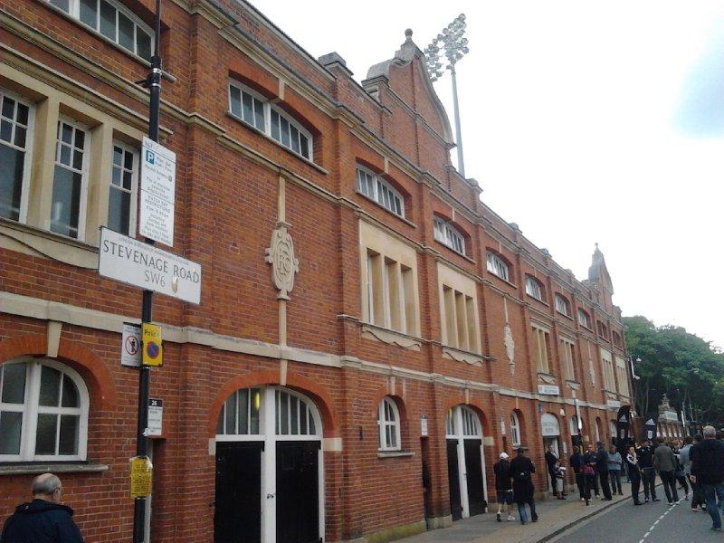 Craven Cottage frontage on Stevenage Road - Fulham FC vs Stoke City