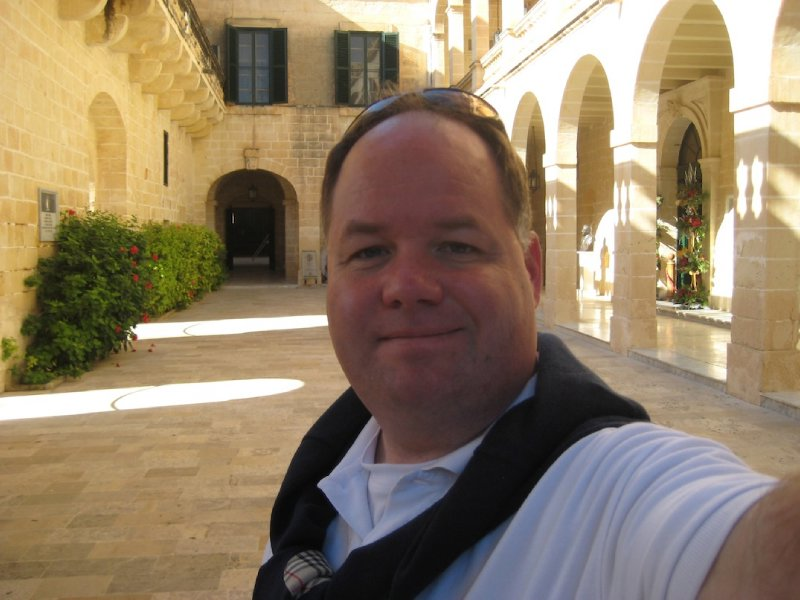 Greg at Presidential Palace in San Anton Gardens