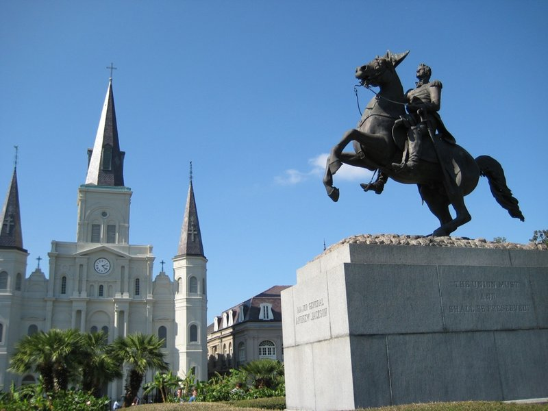 Jackson Square, statue and St. Louis Cathedral