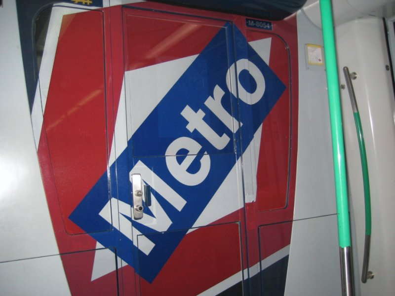 Metro sign on train
