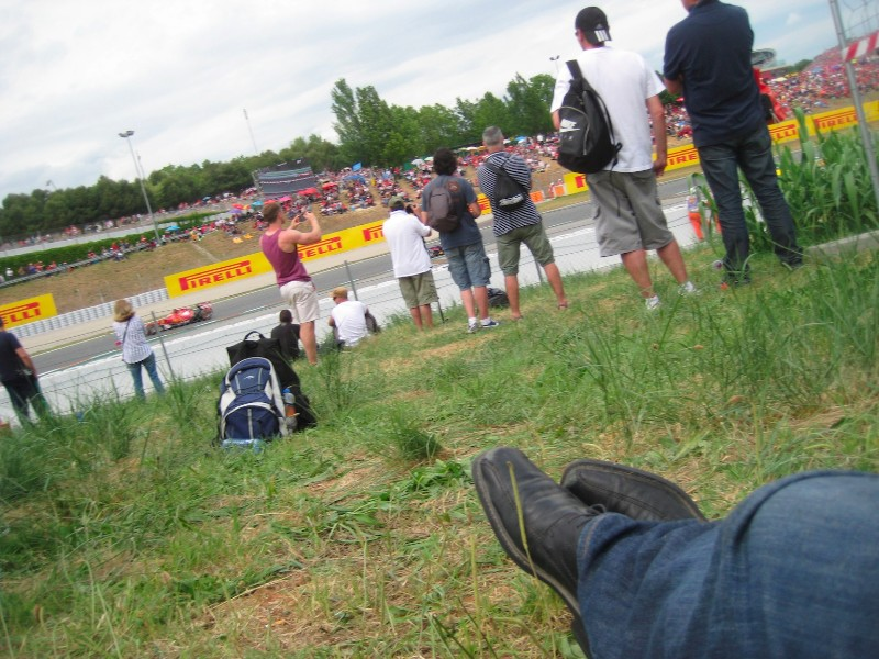 Loungin' in stand A grassy area at the Spanish Grand Prix 2014, Circuit de Barcelona-Catalunya, Spain