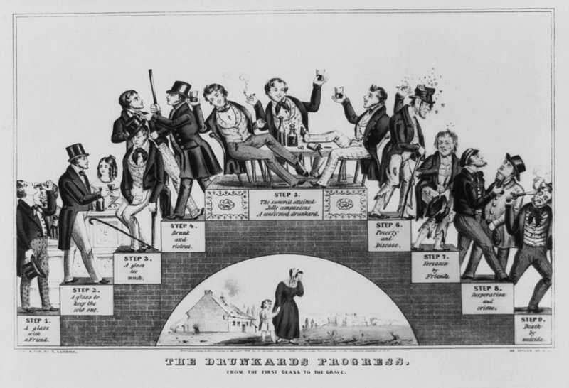 A lithograph by Nathaniel Currier called The Drunkard's Progress