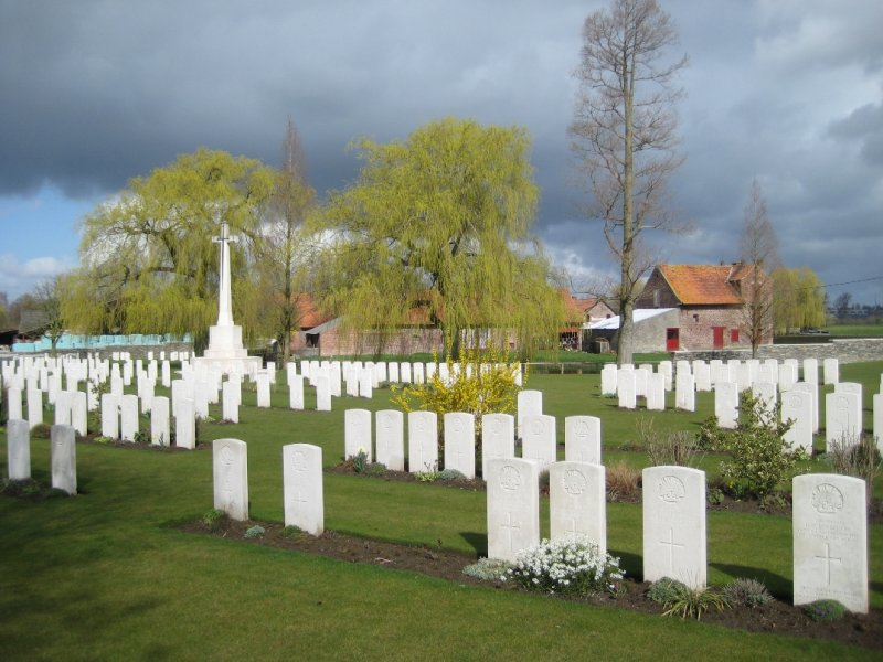 Cross and Graves at Small WWI Gravesite just outside Ypres