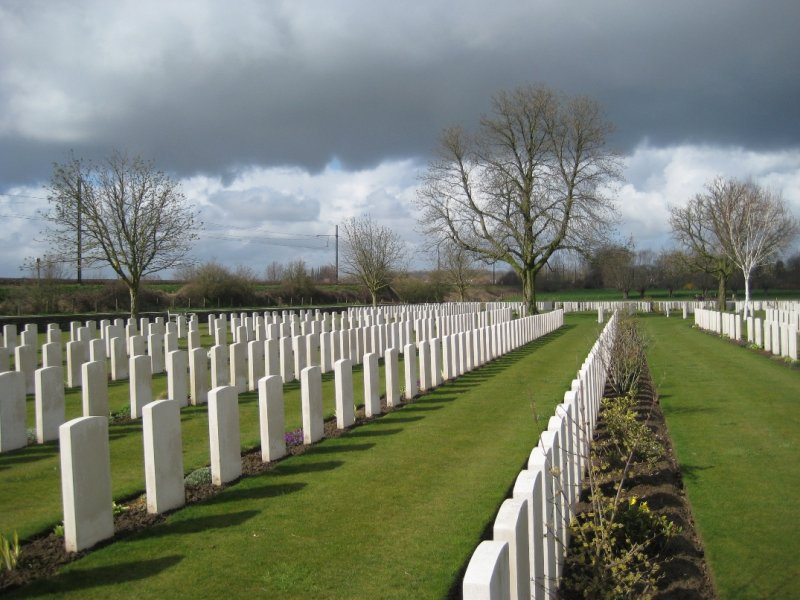 Countryside as a backdrop for the Small WWI Gravesite just outside Ypres