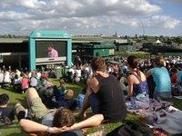 Sitting on the Hill watching the big screen, Wimbledon