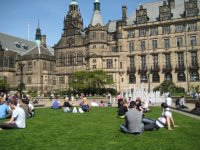 Lazing on the grass at Sheffield Town Hall Square