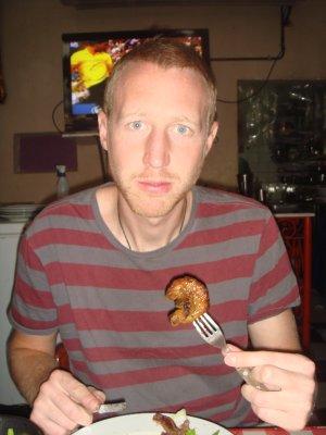 ross eating offal