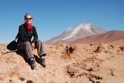 Lori overlooking Bolivia's only active volcano