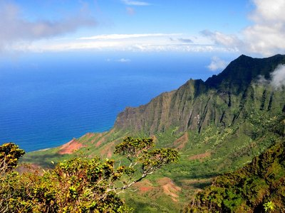 Napali Coast from Waimea Canyon lookout - Kauai, Hawaii