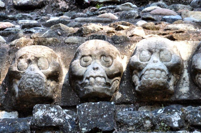 skulls at temple 16 Copan Ruinas