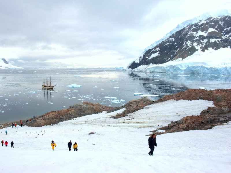 Bark Europa anchoring in Antarctica