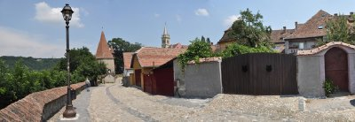 old city wall in sighisoara, romania