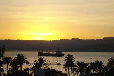 Abendstimmung ueber dem Golf von Aqaba
