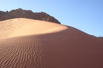 im Abendlicht faerbt sich der Sand goldgelb