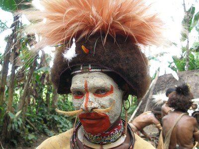 Huli Man with Bird Of Paradise Head Dress