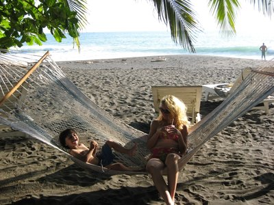 Mama and Brandon on the beach