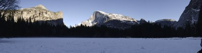 Yosemite Valley In The Snow Panorama